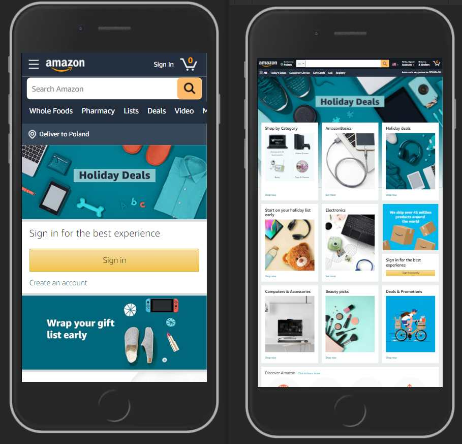 On the left, we see the responsive version of amazon.com on a mobile device, and on the right it's the non-responsive version.
