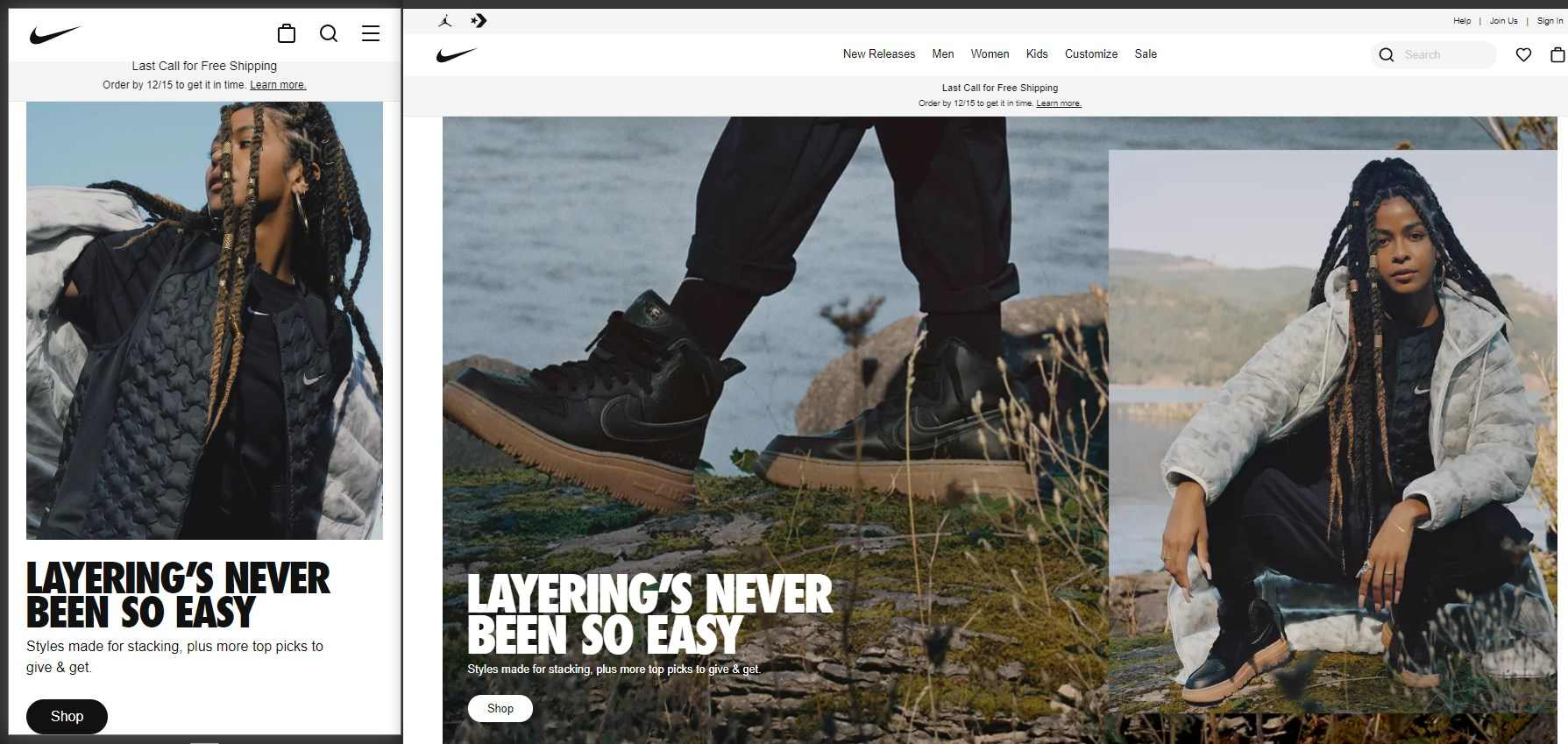 Nike.com adapts to the screen size, changing the image, font, and other elements when rendered on a mobile device.