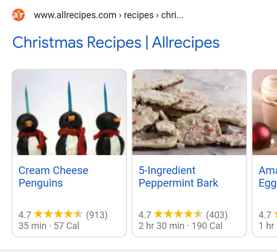 An example of a recipe rich result carousel