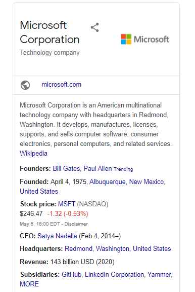 Google's Knowledge Panel displayed in the desktop search results