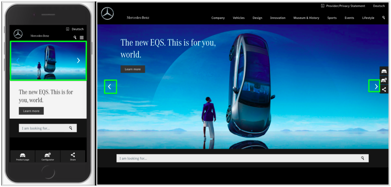 Example of a carousel in website design